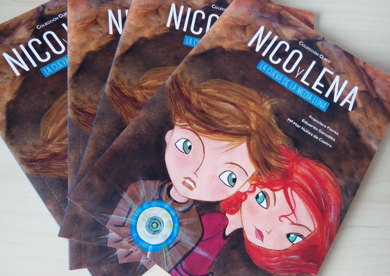 Portada del libro 'Nico y Lena: La Cueva de la Media Luna', diseñado por Lengua Verde Libros.